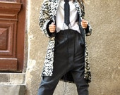 NEW Extra Warm Lined Winter Extravagant Black&White  Hooded Boucle Wool Cashmere Blend/ buttoned Jacket /Side Pockets Coat by AAKASHA A07502