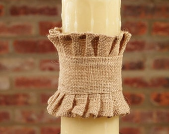 Ruffled Edge Burlap Candle Wrap for battery opperated candle No. 92919B