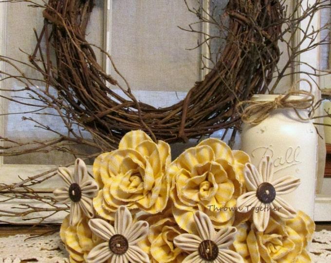 Yellow Beige & Brown Fabric Flower Bouquet, Handmade Rustic Wedding Bouquet, Farmhouse Centerpiece, Denim and Ticking Bouquet, Wreath Floral