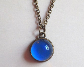 Mood Necklace - Antique Brass - AAA Mood Stone 13 mm - color changing
