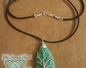 Turquoise Magnesite and Silver Wire Wrapped Pendant on Satin Cord Free Domestic Shipping