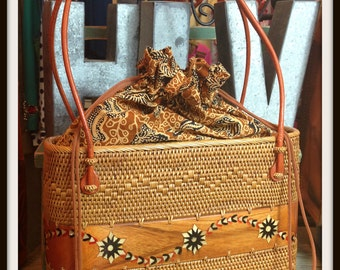 Vintage Camel Wicker Inlaid Wood Handbag Bag