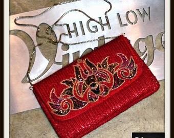 Vintage Red Black Gold Beaded Satin Handbag Bag Purse Clutch Shoulder Chain Strap FREE SHIPPING