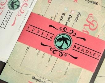 Vintage Travel Wedding Invitation Suite SAMPLE SET // Destination Wedding Invitation Map, Caribbean Wedding Invite // Coral Wedding