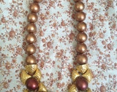 magnificent vintage Napier bronze and magenta beaded necklace with gold accents