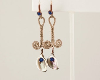 Calla Lillies, Sterling Silver Wirewrapped Earrings with Floral Abalone Shell Beads and Blue Glass