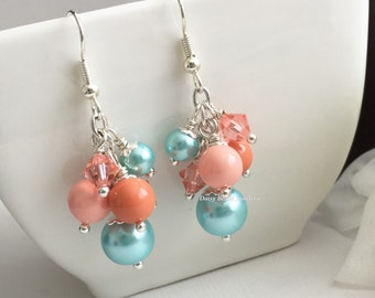 Shades of Coral and Blue Earrings, Coral Earrings, Coral Wedding Earrings, Bridesmaid Earrings, Coral Wedding 2016