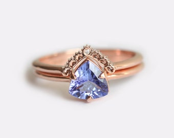 Rose Gold Engagement Ring, Tanzanite Engagement Ring, Tanzanite Wedding Ring Set, Tanzanite Ring with Diamond Lace Band, Rose Gold Set