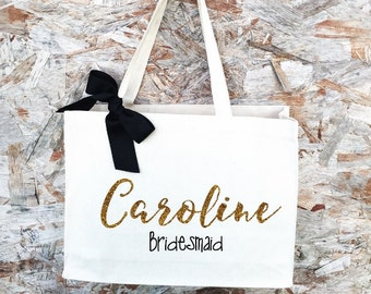 Bridesmaid Tote. Bridesmaid Bag. Personalized Tote. Personalized Name Tote. Wedding Day Tote. Bridal Tote. Bride Bag.
