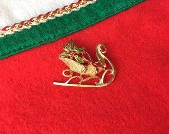 Vintage Christmas Sleigh Brooch Gold Tone Xmas Pin