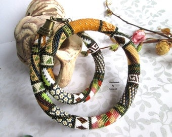 """Bead Crochet Necklace """"Autumn patchwork"""" brown gold beige white green light green pink universal for her Made to order"""