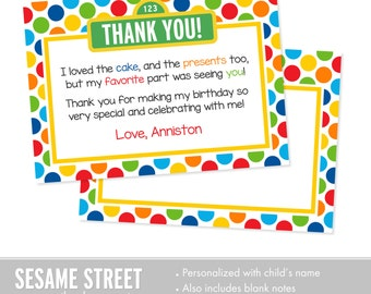 Sesame Street Thank You Cards, Sesame Street Birthday, Printable Kids Thank You Cards, Custom Thank You Cards for Kids