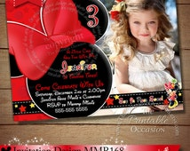 HUGE SELECTION Chalkboard Minnie Mouse Birthday Invitation, Red Yellow Chevron Minnie Mouse Birthday Invitation, Digital Invitation, DIY