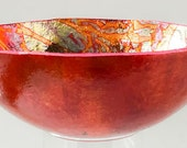 Gourd bowl for sale  [FGC-B32] - red orange - gold leaf - gourd bowl - Fire & Gold Collection