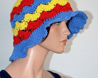 Crochet Sun Hat/ Handmade Beach Hat/ Summer Hat/ Cotton Cloche Hat/ Cotton Sun Hat