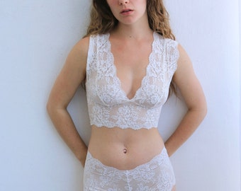 White Bra and Knicker Set with Beautiful Floral Lace. Handmade English Lingerie from Brighton Lace