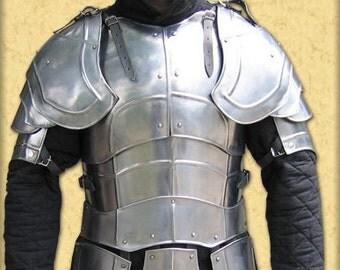 "Larp,  larp armor, fantasy, elven,  medieval costume, steel,""Weg des Schwertes""  full set: cuirass, gorget, arm bracers, pauldrons, greaves."