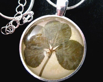 Lucky Four-Leaf Clover / Irish Shamrock Pendant Necklace - Silver Plated