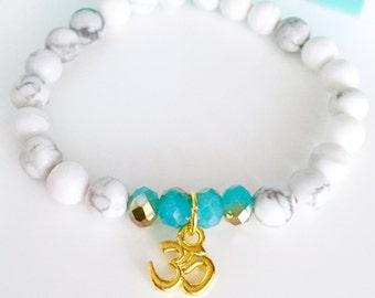 Mala Bracelet, Yoga Mala bracelet, Yoga Bracelet,Wrist Mala, 108 Mala bead bracelet, Howlite bracelet,Healing bracelet, White bracelet, BMHC