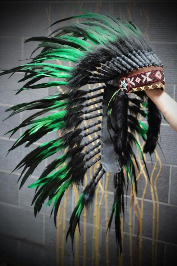 Indian Native Medium  Green  Feather Headdress (36  inch long )/ war bonnet