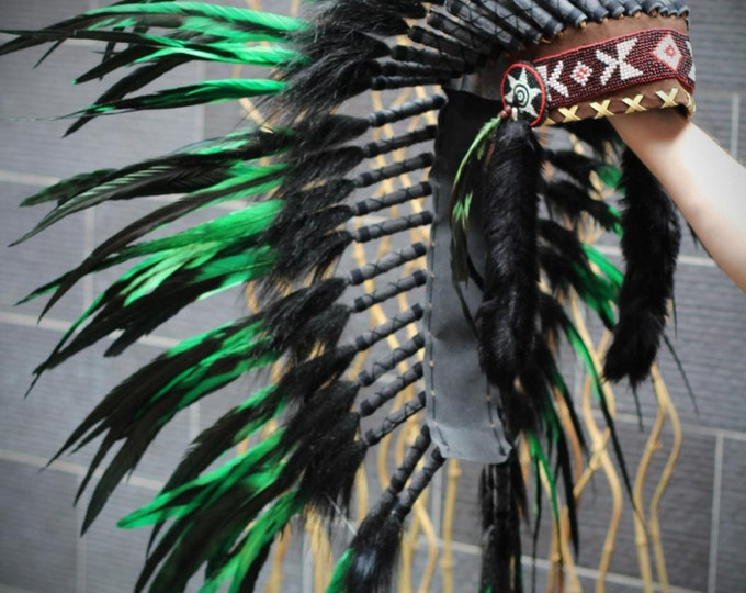 Medium  Green  Feather Headdress (36  inch long )/ war bonnet
