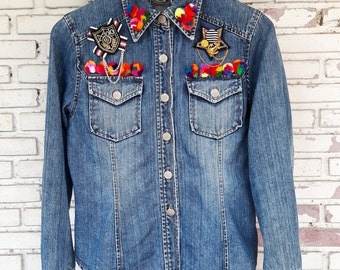 FREE SHIPPING Vintage DIY Studded Jean Jacket No.880046