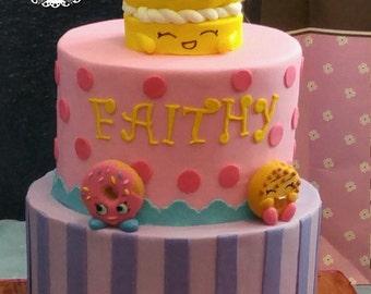 Shopkins fondant cake topper set