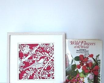 Original art - paper cut art - Original handmade papercut of birds in branches framed in wooden frame - ornithology