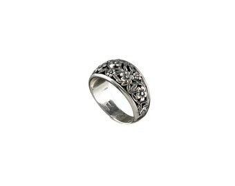 sterling silver floral ring, harmony collection, Gerochristo jewelry