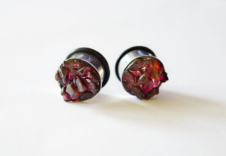 Garnet Ear Plugs Gem Stone Plugs Stones Ear Tunnel Red Stone