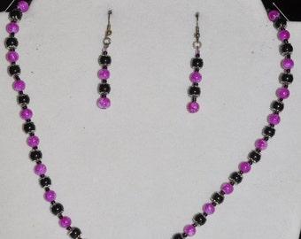 SALE! Necklace Earrings Bracelet Set Pink Black Glass Bead #427