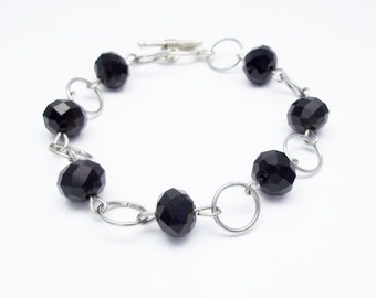 Black bead bracelet for mom day gift for her beaded bracelet black crystal bracelet office bracelet casual bracelet Crystal Jewelry bohemian