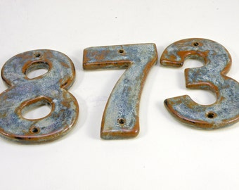 Stoneware House Numbers, House Tiles, Ceramic house Address Numbers