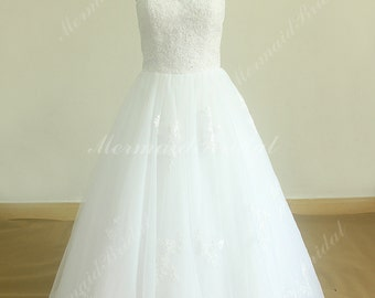 Romantic White A line tulle lace wedding dress with illusion neckline