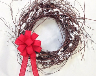 Winter Wreath, Holiday Wreath, Rustic Wreath, Grapevine Wreath, Wispy Wreath, Snow Wreath, Winter Door Décor, Winter Floral