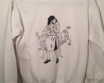 White Screen Printed Sweatshirt