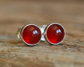 Carnelian Gemstone Stud Earrings, 6mm Sterling Silver Carnelian Earrings, Carnelian Studs, Deep Orange Gemstone Earrings, Gemstone Studs
