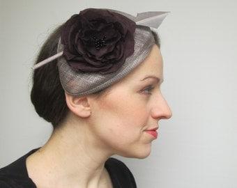 Wedding Fascinator Hat - Wedding Hat, Grey Hat, Pewter Fascinator, Silver Hat, Womens Hat, Races, Millinery, Fascinator Headband, Percher