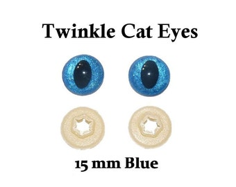 15 mm Blue Safety Eyes Twinkle Cat  Eye Pupil (One Pair)