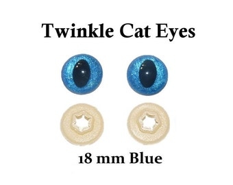 18 mm Blue Safety Eyes Twinkle Cat  Eye Pupil (One Pair)