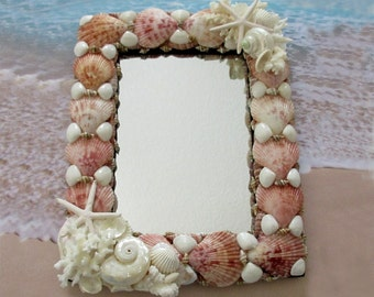 Seashell Mirror (8 X 10) Sea Shell Frame, Shell Mirror, Beach Wedding Gift, Coastal Frame, Elegant Beach Frame, Pink Seashell Gift