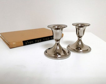 Silver Nickel Shabbat Candlesticks -Jewish Holiday Gift- Judaica Candleholders , Elegant Silver Petwer Candle Holders