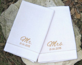 MONOGRAMMED DINNER NAPKINS, Bride & Groom, Mr. and Mrs., Linen/Cotton Blend, Hemstitched, Anniversary Gift, Personalized, Set of Two, White