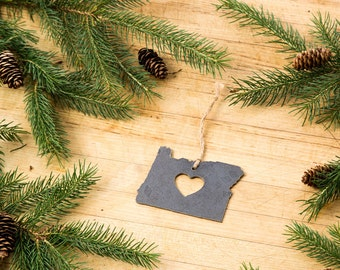 Love Oregon Christmas Ornament State Rustic Metal Ornament Recycled Steel Holiday Gift Industrial Decor Wedding Favor by Iron Maid