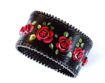 Black Leather Rose Bracelet Hand Painted Boho Rocker Chic Bohemian Jewelry