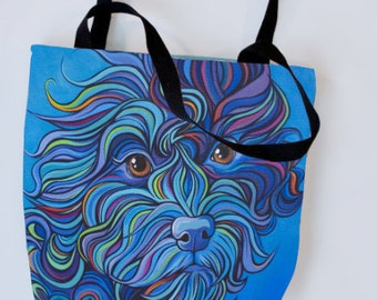 Doodle Tote Bag, Labradoodle, Aussie Doodle, Goldendoodle, Mini Doodle, Red, Black, Dog, Cute, Puppy, Tote, Beach, Books, Color, Bright