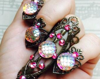 claws nail ring set, exagerate nail rings