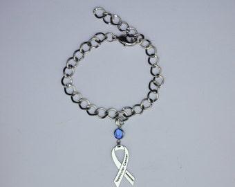Testicular Cancer Awareness Ribbon Bracelet - Testicular Cancer Support, Survivor, Memorial Jewelry