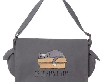 Cat Messenger Bag, If it Fits I Sits Kitty Cat Embroidered Canvas Cotton Messenger Bag
