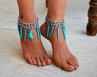 "Ankle chain ""Free Spirit"" , foot jewellery, silver anklet, barefoot jewelry, jewelry ankle chain, body jewelry, anklets"